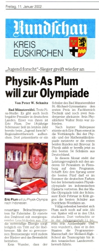 Physik-As Plum will zur Olympiade