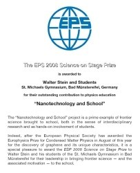 Urkunde: Preis der European Physical Society - Science on Stage