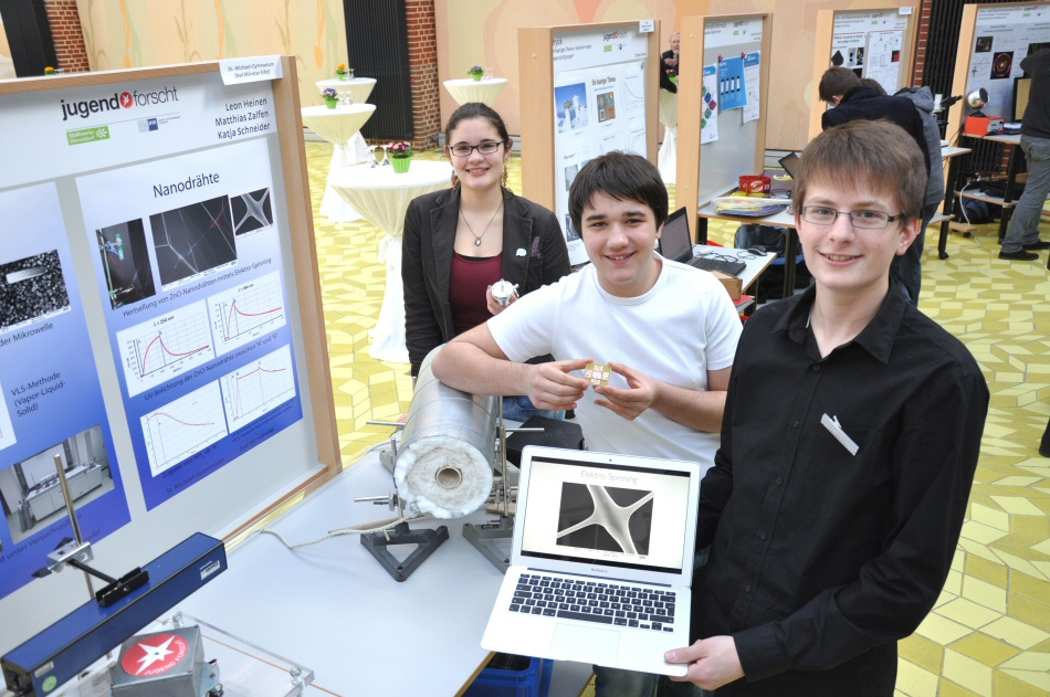 Katja Schneider, Leon Heinen and Matthias Zalfen impress at the regional contest in Düsseldorf with their work on nanowires
