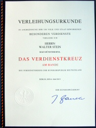 Award Certificate - Federal Cross of Merit